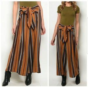 Pants - Brown Mustard Striped Pants